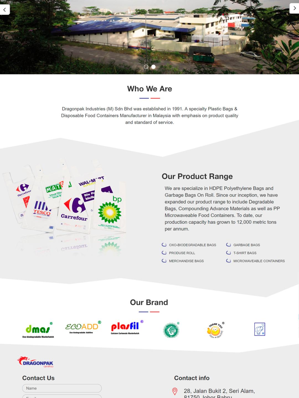 Розробка сайту для виробника пластикових пакетів - dragonpak.com